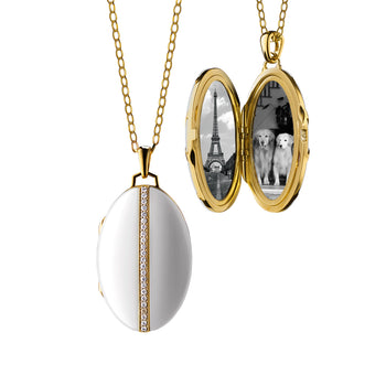Oval Black Ceramic Locket with diamond accents in 18K gold