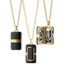 Rectangular Black Ceramic Locket in 18K gold with diamond accents