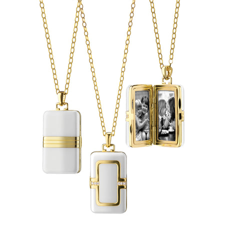 Rectangular White Ceramic Locket in 18K gold with diamond accents
