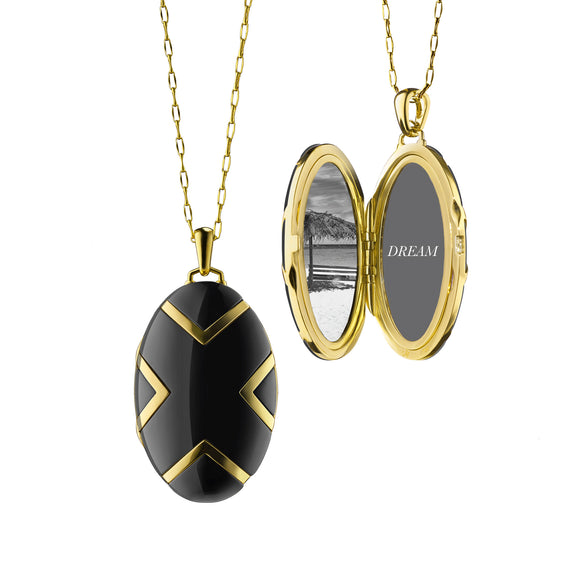 Chevron Black Ceramic Locket in 18K gold