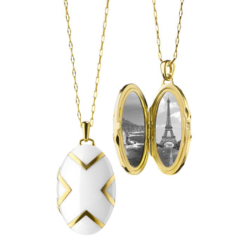 Chevron White Ceramic Locket