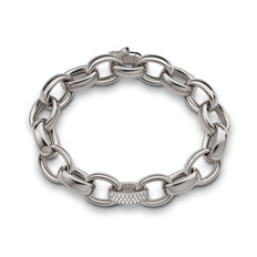 18K White Gold Marilyn Pave Link Chain