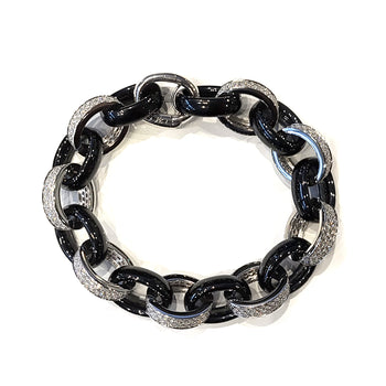 Marilyn Black Ceramic and Pave Diamond Link Bracelet
