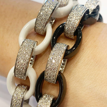 Marilyn White + Black Ceramic and Pave Diamond Link Bracelets