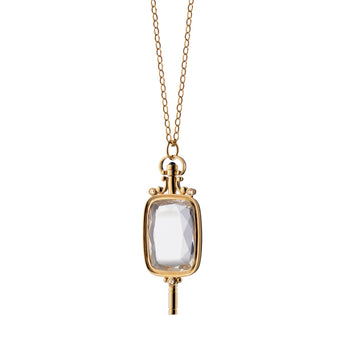Rectangular Key Necklace in Gold
