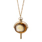 Large Oval Pocket Watch Key Necklace, Honey Quartz