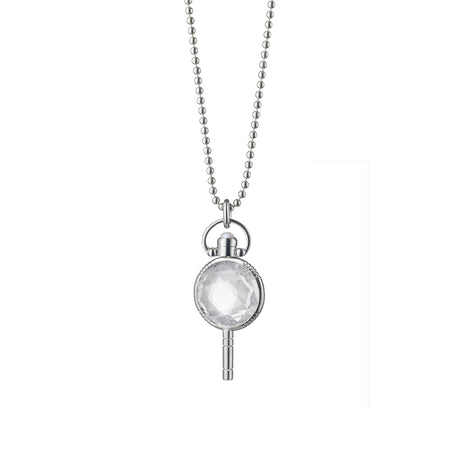 Monica Rich Kosann Pocket Watch Key Rock Crystal Necklace uGLw6iK6x