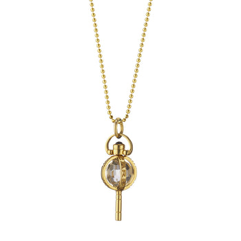 "Mini ""Carpe Diem"" Key on a Delicate Gold Ball Chain"