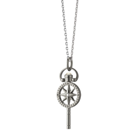 "Miniature ""Travel"" Compass Key Charm Necklace"