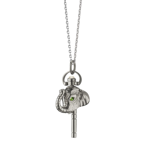 "Miniature ""Luck"" Elephant Key Charm Necklace"