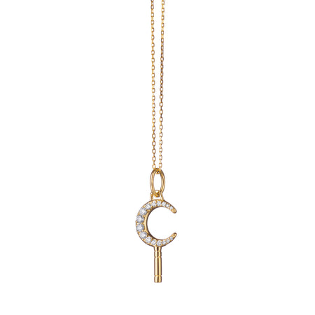 "Mini ""Dream"" Moon Key Necklace with Diamonds with Adjustable Chain"