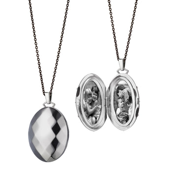 Faceted Locket in Sterling Silver