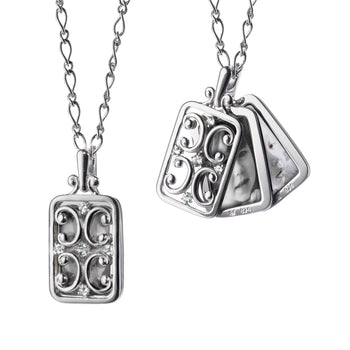Sterling Silver Rectangular Gate Locket Necklace with Sapphires
