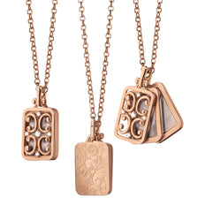 Rose Gold Rectangular Gate Locket Necklace with Diamonds