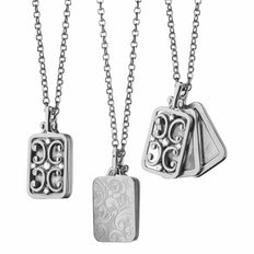 White Gold Rectangular Gate Locket Necklace with Diamonds