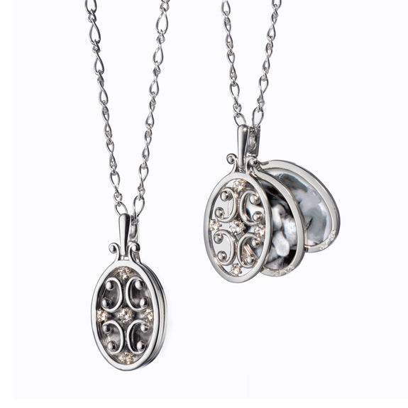 Oval Gate Locket Necklace with Sapphires