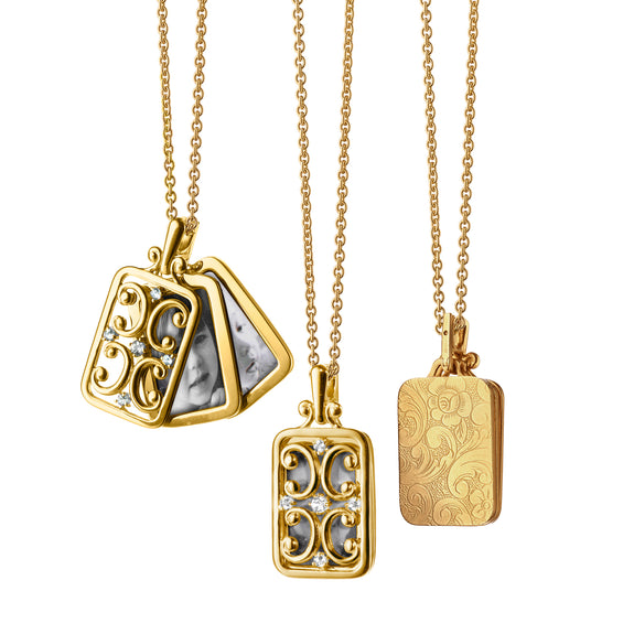 Rectangular Gate Locket with Diamonds