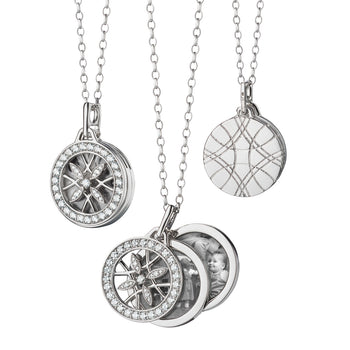 Round Gate Locket Necklace in White Gold