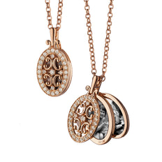 Rose Gold Oval Gate Locket Necklace with Diamond Border