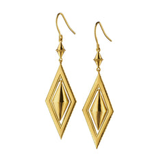 Diamond-Shaped Earrings with Swinging Center
