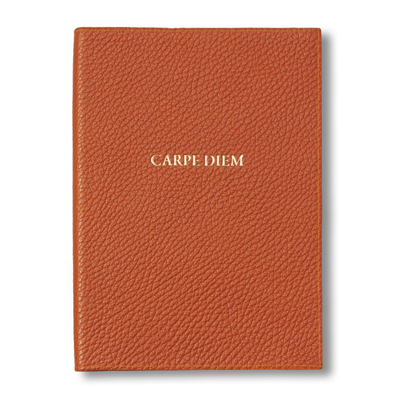 Carpe Diem Embossed Orange Leather Journal