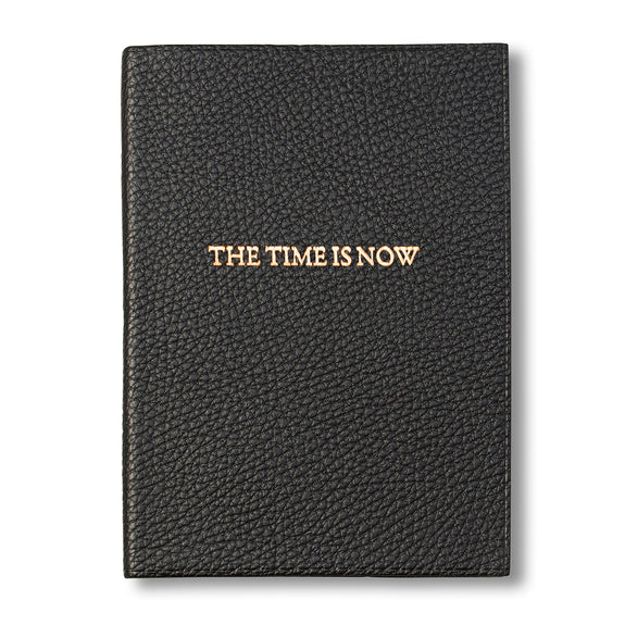 """The Time is Now"" Leather Journal, Black"