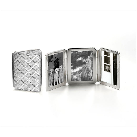 Small Diamond Pattern Image Case in sterling silver, 3 photos
