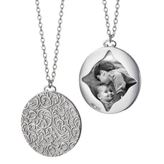 Vine Pattern Half-Locket Charm Necklace