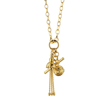 Tassel Toggle Charm Necklace with Diamonds