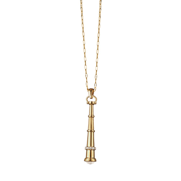 """Curiosity"" Telescope Charm Necklace in 18K Yellow Gold"