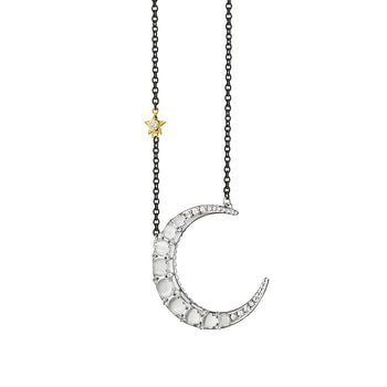 Sun, Moon and Stars Moonstone Crescent Moon Necklace