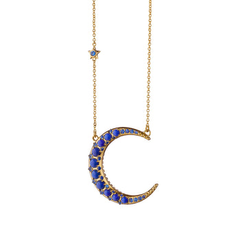 Sun, Moon and Stars Lapis Crescent Moon Necklace