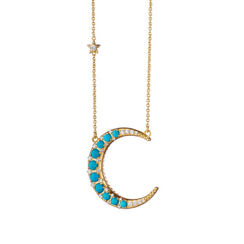 Sun, Moon and Stars Turquoise Crescent Moon Necklace