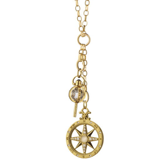 """Travel"" Compass and Mini ""Carpe Diem"" Key Charm Necklace"