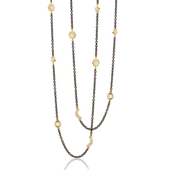 "Sun, Moon and Stars 47"" Diamond and Moonstone Steel Chain Necklace"