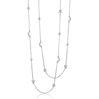 "Sun, Moon and Stars 40"" Moonstone and White Sapphire Silver Chain Necklace"