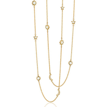 "Sun, Moon and Stars 47"" Diamond and Opal Gold Chain Necklace"