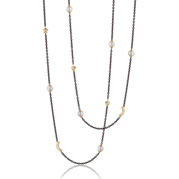 "Sun, Moon and Stars 40"" Pearl, Diamond, and Moonstone Steel Chain Necklace"