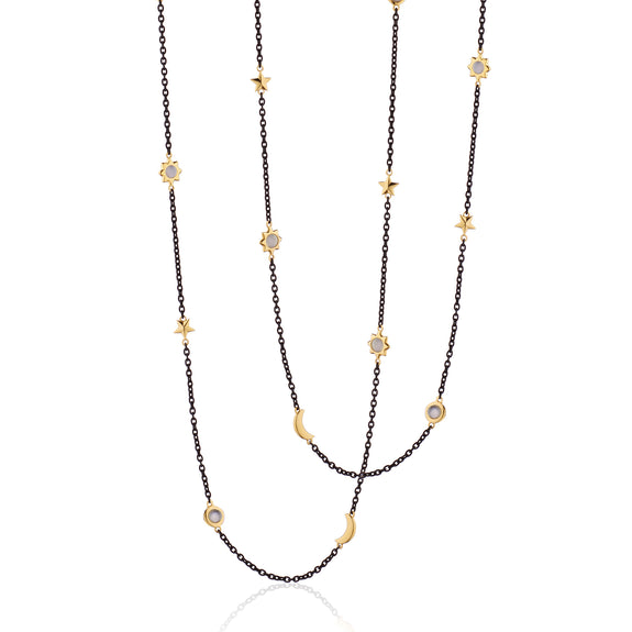 "Sun, Moon and Stars 40"" Moonstone Steel Chain Necklace"