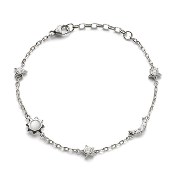 Sun, Moon and Stars Moonstone and White Sapphire Chain Bracelet