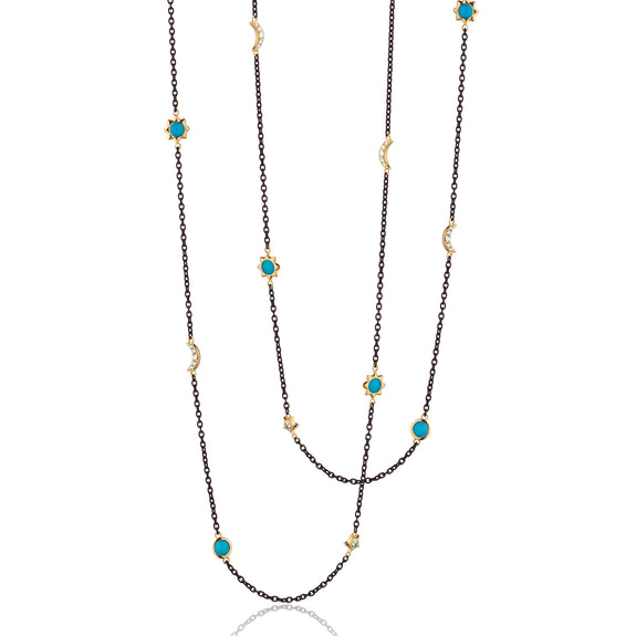 "Sun, Moon and Stars 36"" Turquoise and Diamond Steel Chain Necklace"
