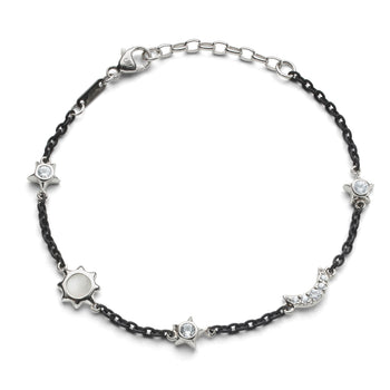 Sun, Moon and Stars Moonstone and White Sapphire Steel Chain Bracelet