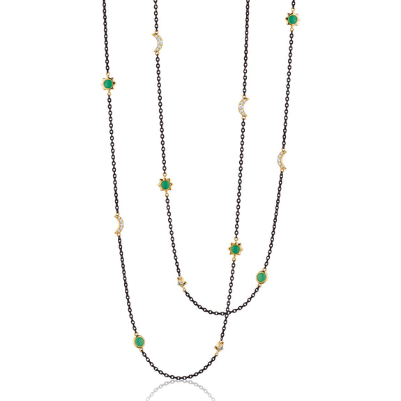"Sun, Moon and Stars 36"" Chrysoprase and Diamond Steel Chain Necklace"