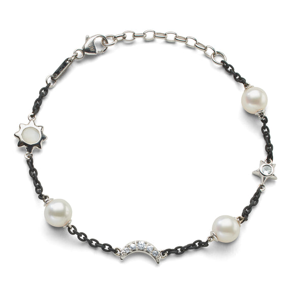 Sun, Moon and Stars Pearl, Moonstone and White Sapphire Steel Chain Bracelet