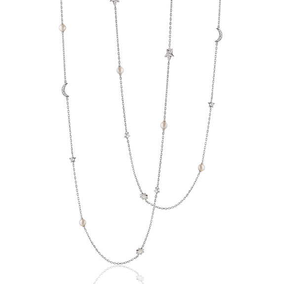 "Sun, Moon and Stars 40"" Pearl, Moonstone and White Sapphire Silver Chain Necklace"