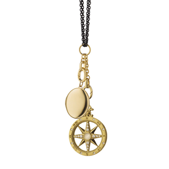 """Travel"" Global Compass and Oval Locket Charm Necklace"