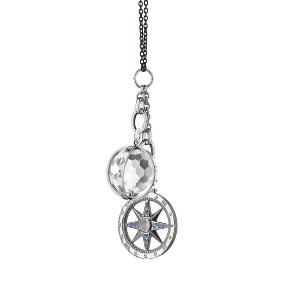 """Carpe Diem"" and ""Travel"" Global Compass Charm Necklace"