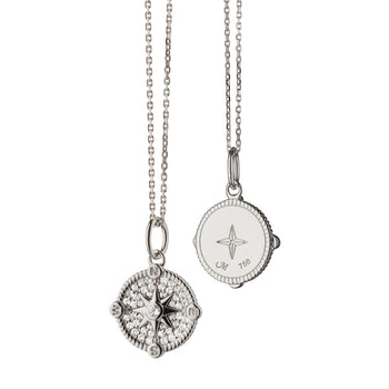 "Mini ""Adventure"" Compass Charm Necklace with Pavé Sapphires"