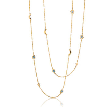 "Sun, Moon and Stars 36"" London Blue Topaz Gold Chain Necklace"
