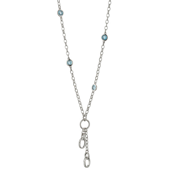 "18"" ""Design Your Own"" Small Charm Chain Necklace with Blue Topaz, 2 Charm Stations"